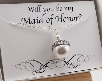 Will You Be My Maid of Honor Necklace Gift for Winter Wedding - Ask Maid of Honor - White Swarovski Pearl Acorn Necklace - Acorn Jewelry