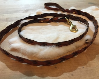Brown Braided Leather Dog Leash