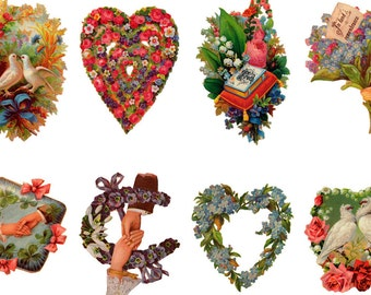 """Large Stickers (each sticker 2.5""""x3.5"""", pack 8 stickers) Scrapbooking Craft Vintage # Doves, Hearts and Flowers FLONZ 365"""