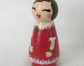 Hand Painted Love Boxes CUSTOM Christmas Caroler Birthday Fairy White Wood Peg Doll