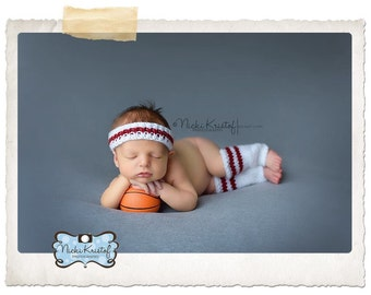 Baby Basketball Headband and Matching Leg Warmers Photo Prop, Knitted, Newborn,  MADE TO ORDER