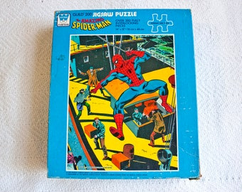 70s Amazing Spider-Man puzzle UNOPENED - Vintage Spiderman childrens toy - Marvel Spider man jigsaw