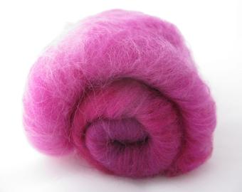 Merino Gradient Batt 40g Pink/Ombre Spinning Fibre/Pink Fuschia Magenta Merino/Felting Wool