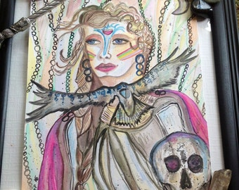 READY, Warrior Goddess, original watercolor art painting, muse, gypsy, healing energy art, divination artwork,witch, intuitive, channel