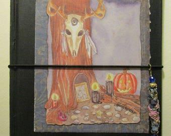 Samhain Tree travelers notebook  midori fauxbonichi hobonichi planner upcycled hardcover book with insert deer skull Halloween witch pagan