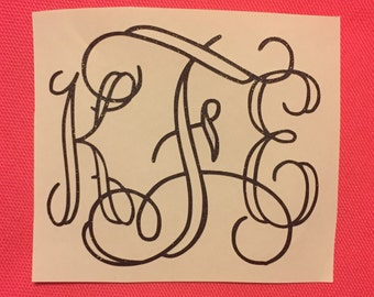 Open Vine Glitter Monogram Vinyl Decal