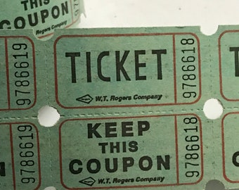 50 Vintage Green Double Raffle Tickets