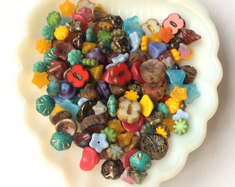 Glass Flower Bead Mix -Grab Bag Beads, Czech Glass Flower Beads- mixed colors 20 grams