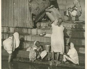 India women washing in river vintage photo Levinsohn