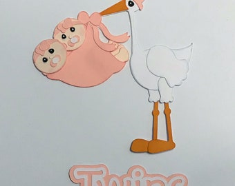 Stork Twin Girls  Premade Scrapbook Pages Die CutStork Twin Boys  Premade Scrapbook Pages Die Cut