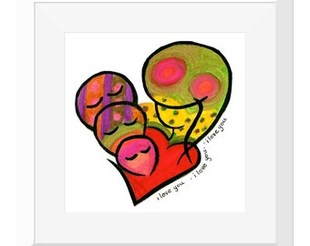 10x10'' Matted ART Print : I Love You x 3 - White
