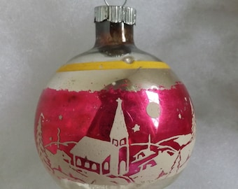 Vintage Shiny Brite Snow Village and Church Christmas ornament silver pink and yellow stripe stencil ornament