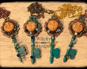 Boho Key Necklace, Boho Jewelry, Skeleton Key, Bohemian Key, Clay Face, Art Doll Jewelry, Mixed Media Key, Gypsy Necklace, Goddess Necklace