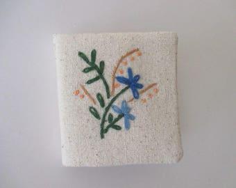 Needle Book/Needle Case/ Needlebook with Blue and Orange Flowers