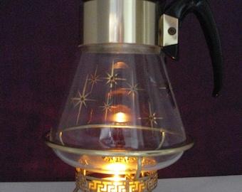 Vintage Corning Ware MCM Atomic Starburst Teapot with heat stand
