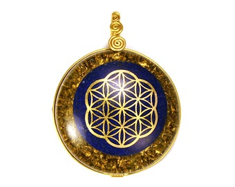 Lapis with 22k Seed of Life (collaboration with Sacred State Design) - Orgone Pendant