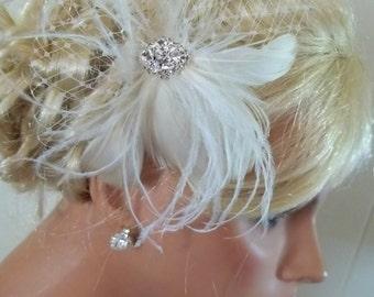 BRIDAL FASCINATOR, Wedding Hair Clip, Feather Hair Clip, Wedding Fascinator, Bridal Hair Clip, Feather Fascinator, Wedding Feather Hair Clip