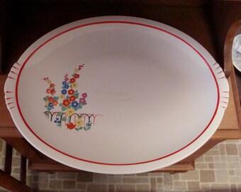 Vintage Garden City Pottery Large Platter 16 3/4 x 13