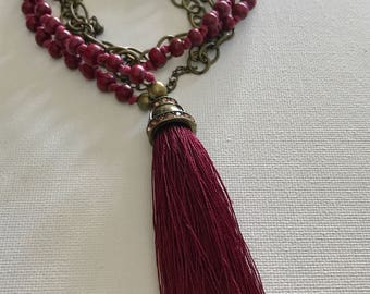 Tassel necklaces/Long necklaces/beaded necklace /gift/boho