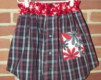 Upcycled Black Plaid Skirt, Girls size 9 / 10