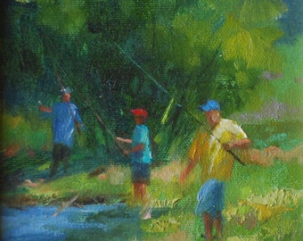 Oil Painting.  Landscape at the River and People Fishing.  Small Painting  of Fishing Kids, Water and Trees.  Impressionistic Art Gift Idea.