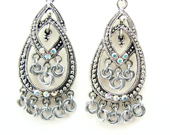 ON SALE Micro Rosette Chandelier Earrings Silver and AB Crystal