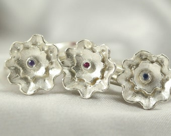 Flowers rings,925 Silver rings,Authentic Silver rings, Silver rings,Sterling Silver ring, Silver ring with gems,Robbie Stone,Sapphire Stone