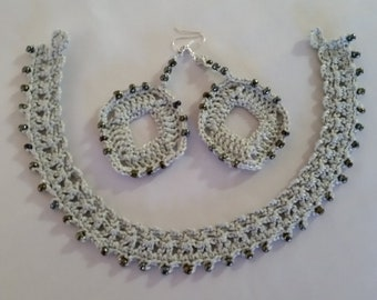 Mother's Day Gift - Crochet Choker Necklace and Earrings with beads - grey