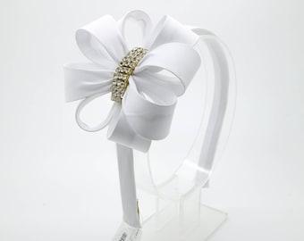 White Bow Headband, Girl's Headband, Toddler Headband, White Hard Headband, Bow Headband, Flower Girl Headband, Girl Headband, 1482