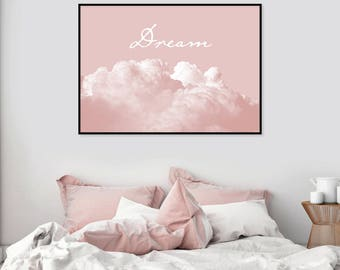 Incroyable Downloadable Dream Poster Printable Blush Pink Print Scandinavian Modern  Wall Art Grey Bedroom Decor Instant Download Clouds Photography