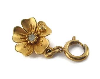 Vintage  Monet Gold Tone Clear Rhinestone Flower Lady Bug Charm