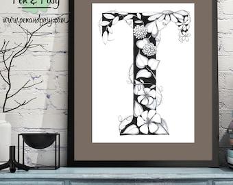 PRINTABLE Monogram Letter T Digital Print Hand Drawn Pen and Ink