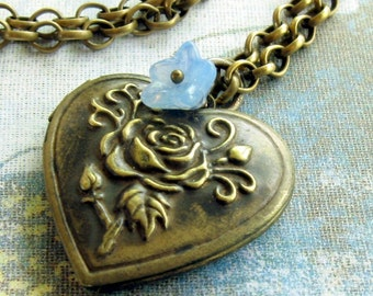 Locket Necklace, Gift for her, locket Pendant, Renaissance Heart Locket, Blue Flower