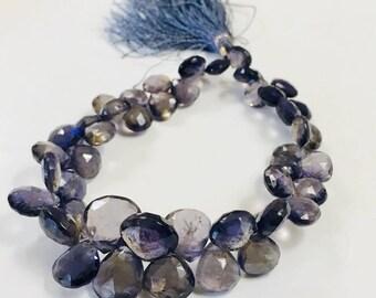 Stunning Iolite Briolette violet drops 11-7mm, loose Gemstone beads