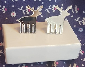 Christmas earrings, Mirror reindeer earrings, stud earrings, mirror reindeers
