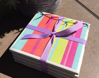 Bright Stripe Coasters, Colorful Coasters, Striped Coasters, Summer Coasters, BBQ, Coasters, Hostess a Gift, Housewarming Gift