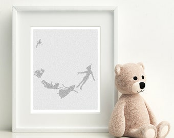 Peter Pan Neverland Art Print, Peter Pan Poster, Typographic Print, Peter Pan Nursery Decor, Text Art Print, Never Grow Up (AU Print)
