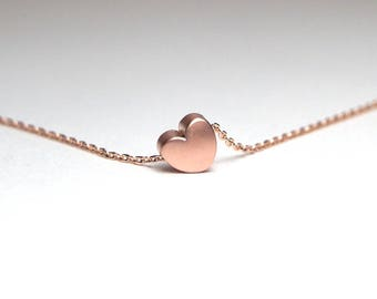 Rose Gold Heart Necklace, Rose Gold Jewelry, Heart Necklace, Dainty Rose Gold Jewelry, Rose Gold Heart, Rose Gold Heart Pendant, RGM