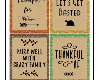 Wine Labels- Thanksgiving Edition