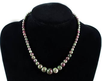 Anyolite Necklace, Ruby Zoisite Necklaces, Anyolite Necklaces, Ruby Zoisite Crystals, Healing Strand Ruby Zoisite Necklace, Anyolite Crystal