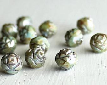 12 Opaque Green Luster Glass Rosebuds 7x8mm - Czech Glass Beads