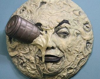 """A Trip To The Moon 13"""" Sculpture - Georges Melies, Silent Film"""