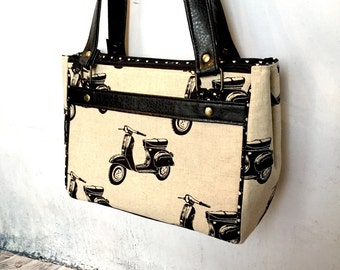 Double Zip Handbag in Echino motorbike linen and black vinyl