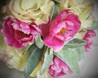 Bright pink ranunculus, hydrangea bouquet, keepsake wedding bouquet, bridal bouquet, silk bouquet, flower bouquet, artificial bouquet