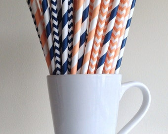 Peach and Navy Blue Striped and Chevron Paper Straws Coral Navy Party Supplies Party Decor Bar Cart Cake Pop Sticks  Graduation