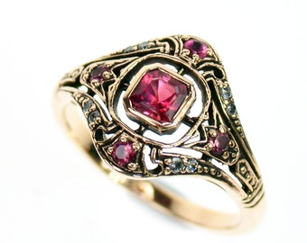 Art Deco Tourmaline Ring with Diamonds, 9ct 9k Solid Gold, Vintage Diamond Womens Ring, Antique, Avail Rose + White, 14k 18k, Custom R316B