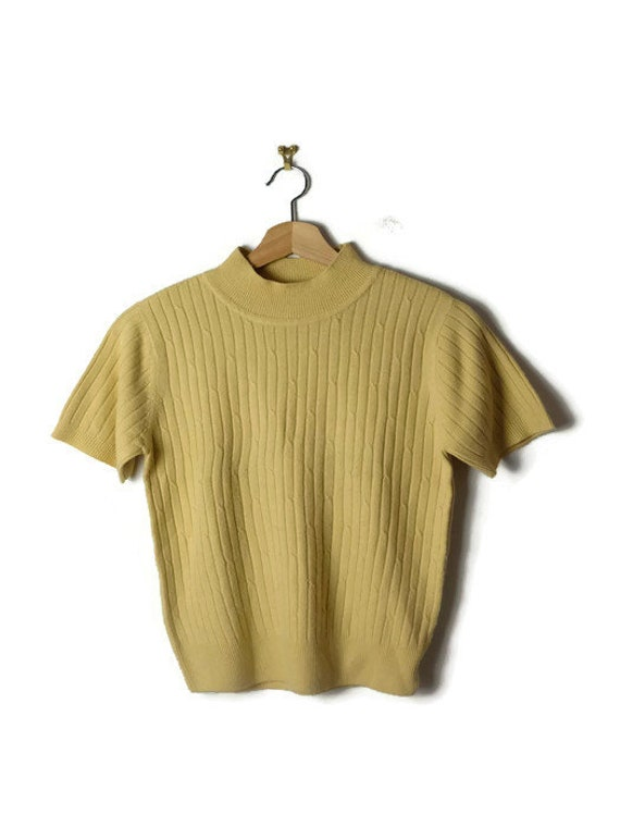 Pale Yellow Turtle Neck/High Neck Short Sleeve Sweater by Etsy