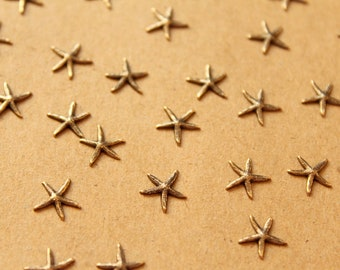 16 pc. Antique Brass PlatedTiny Raw Brass Starfish: 9mm by 8.5mm - made in USA   AB-006