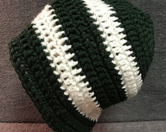 Pine Green and White Stocking Cap