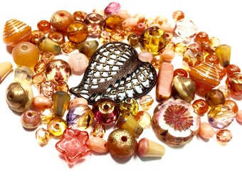 Peach Czech Glass, Brass Filigree Heart, Bead Soup, Jewelry Supplies